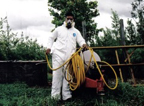 Pesticide worker in protective gear
