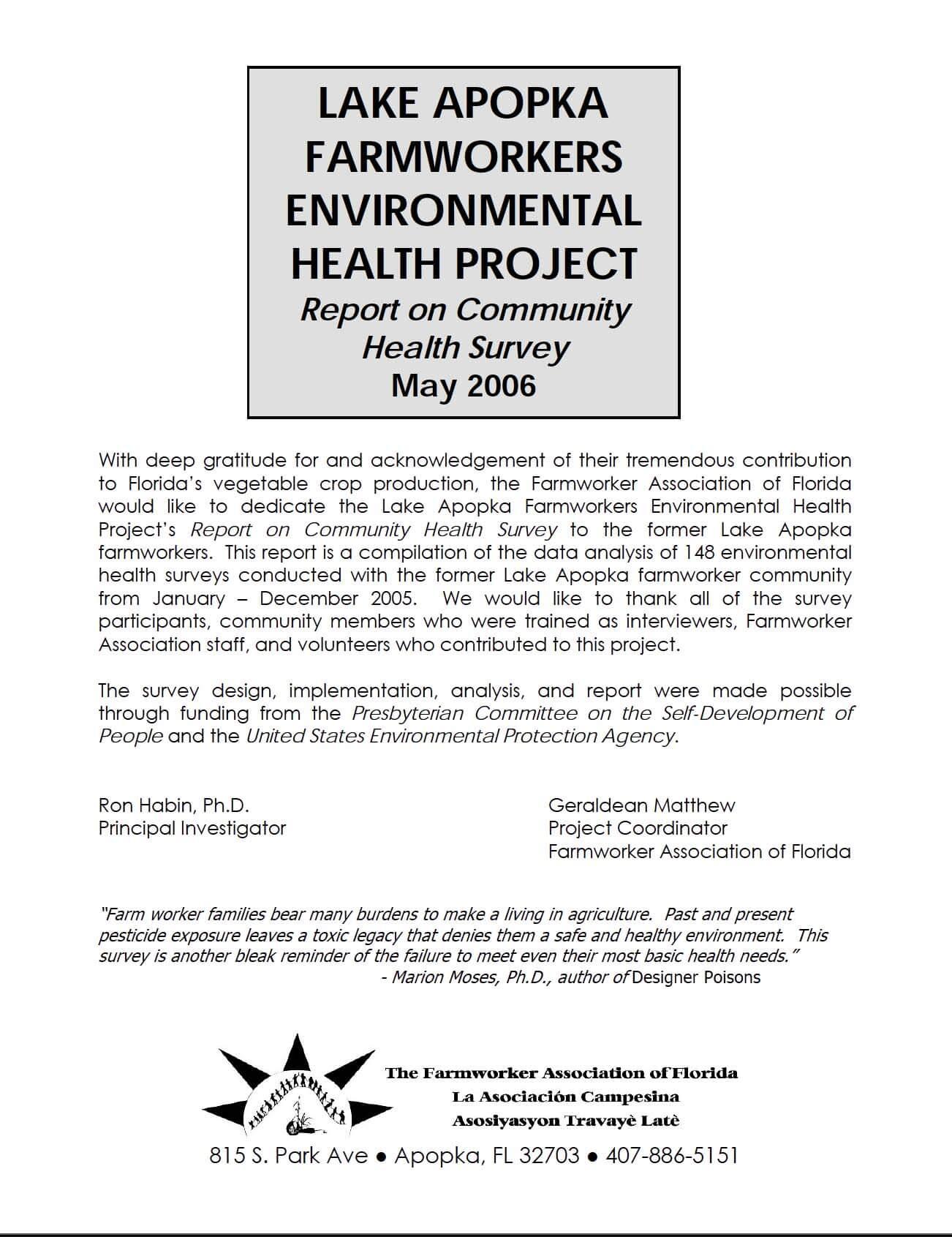 Lake Apopka Farmworkers Environmental Health Project cover