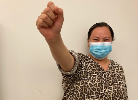 Farmworker Hortensia after her victory in court
