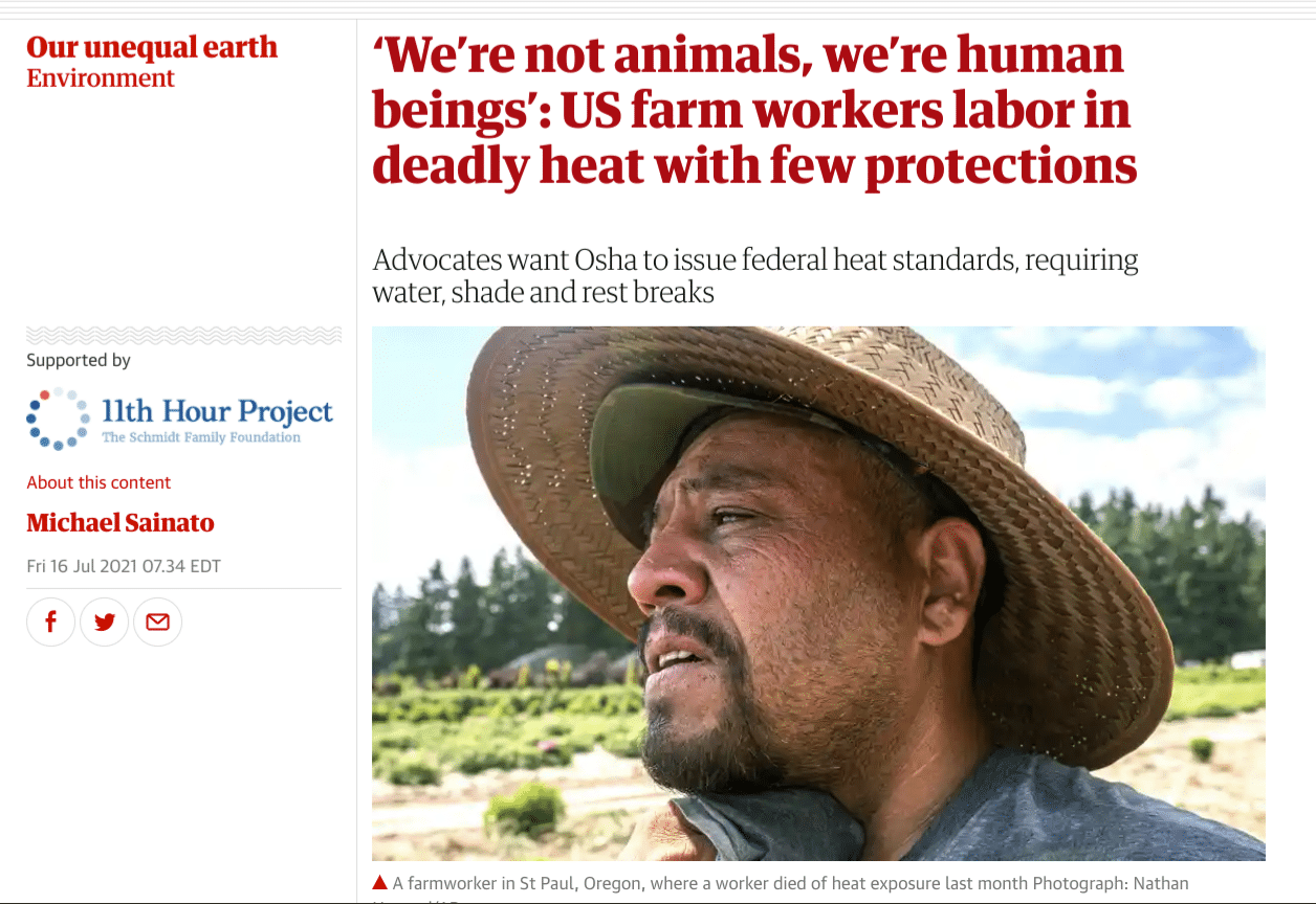Farmworkers on the front page of the Guardian